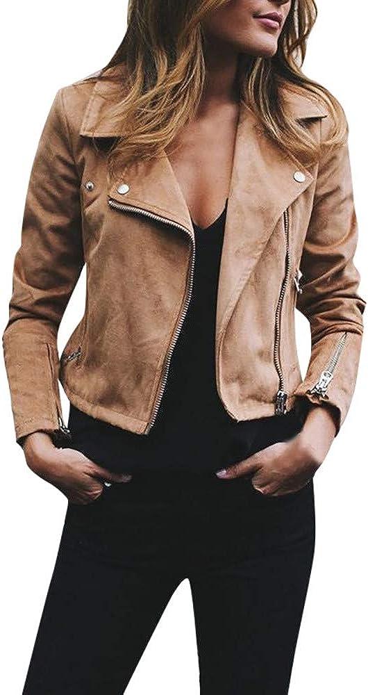 TOPUNDER Faux Suede Jackets for Women Long Sleeve Zipper Short Moto Biker Coat