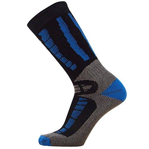 Pure Athlete Youth Ski Socks - Merino Wool Children Skiing/Snowboard Sock - Junior OTC Ski Socks (XS/S, Black/Blue)