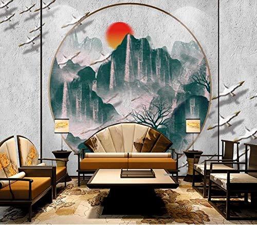 Tapete 3D Neue chinesische Landschaft Landschaft Sonnenaufgang Foto Tapete Wohnzimmer Sofa Schlafzimmer Studie Dekoration Poster 200cmx140cm (78,7x55.1inch) PVC Tapete Wandverkleidung Tapete Vlies Sto