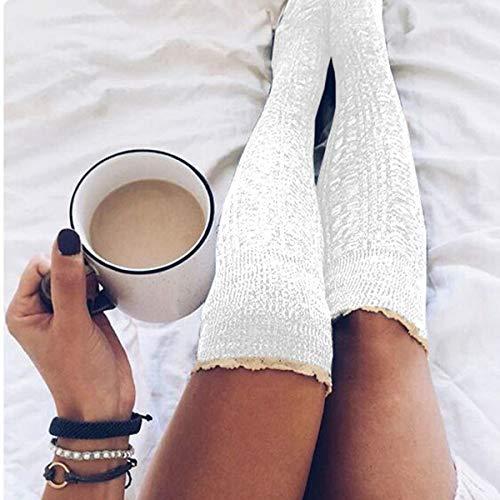 Haokaini Calcetines Cálidos para Mujer con Calcetines Calientes Calcetines de Botas de Crochet con Botones de Encaje hasta La Rodilla