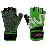 Bwiv Unisex Handschuhe Gewicht Heben Fingerlose Handschuhe mit 51cm Handgelenk Fahrradhandschuhe...