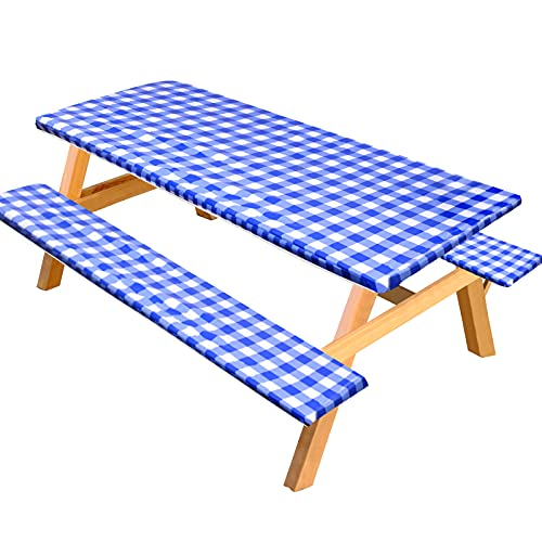 RUODON 3 Piece Picnic Tablecloth Cover Bench Cover Set Plastic Outdoor Garden Bench Tablecloth Long Chair Covers Set Fits 72 x 28 Inch Tables, Blue and White