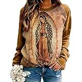 SHUIZHUYU Sudadera de Manga Larga para Mujer con diseño de la Virgen María de Guadalupe M