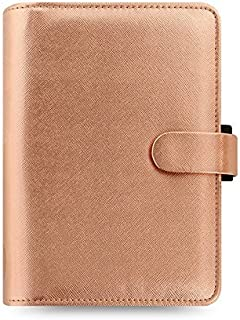 $59 » Filofax Saffiano PU-Leather Organizer Agenda Weekly Planner Refillable Calendar with DiLoro Jot Pad Refills (Personal 2021, Rose Gold)