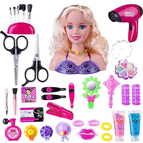 K-Park 35 piezas para niños de peluquería de maquillaje, modelo de cabeza para niñas, estilo de muñeca, con accesorios, rubio, juguetes innovadores brillantes