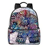 Paquete de mochila Colorful Cute Elephant Printed Multifunctional Men'S And Women'S Backpacks Business And Travel Laptop Backpacks School Bags 14.5x12x5 In