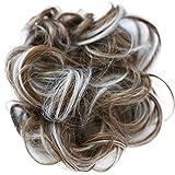 PRETTYSHOP Hairpiece Hair Rubber Scrunchie Scrunchy Updos Wavy Messy Bun light brown/gray mix # 6Hgray G42A