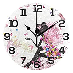 JERECY Pink Fairy Butterfly Girl with Floral Print Wall Clock Silent Non Ticking Acrylic 10 Inch Home Office School Decorative Round Clock Art