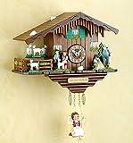 magicaldeco Original Schwarzwald- HEIDI,PETER,DREHENDE ZIEGEN,ALM ÖHI - Pendel- Kuckucksuhr mit Nachtabschaltung, Kuckucksruf - Cuckoo Clocks- Germany Black Forest