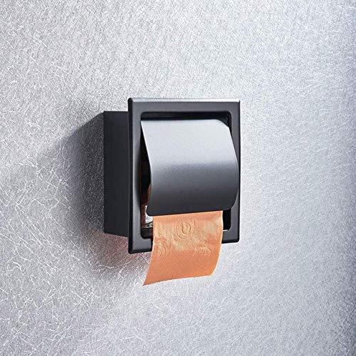 Soporte de papel higiénico para baño, Soporte de caja de pañuelos de acero inoxidable Envío gratis Montado en la pared de cromo negro, Negro
