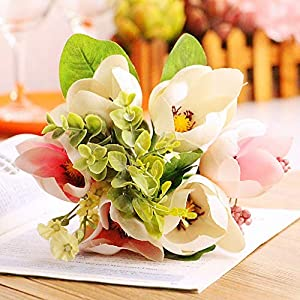 Artificial and Dried Flower 6 Heads Artificial Flower Wedding Home Magnolia Silk Camellia Magnolia Daisy Magnolia Bouquet for Room Photography Decoration