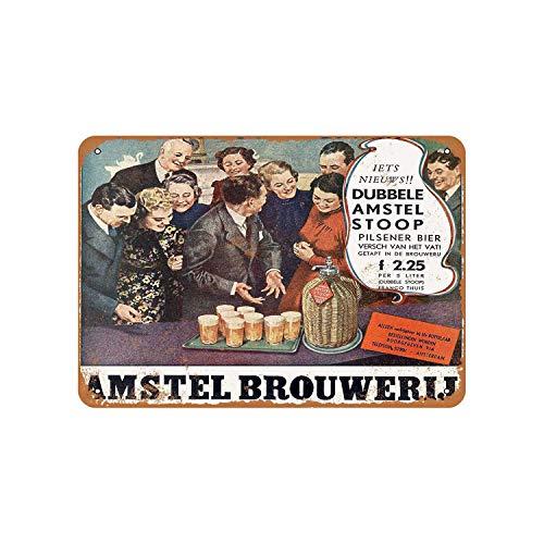 43LenaJon 1937 Amstel Pilsener Bier Nederlands Vintage Look Metalen bord