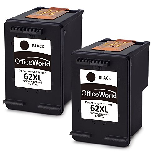 OfficeWorld 62XL Rigenerata HP 62 Cartucce d'inchiostro (2 Nero) Alta capacità Compatibile con HP Envy 5540 5544 5546 5547 5640 5642 5644 7640 5646 5542, HP OfficeJet 200 5740 5742 5744