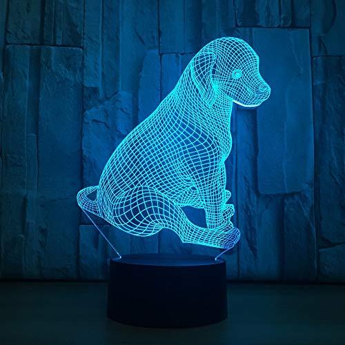 Nettes Labrador-Hundespielzeug, das Weihnachten 3D-LED-Nachtlicht-Tischlampe Nachttischdekoration-Kindergeschenk blinkt
