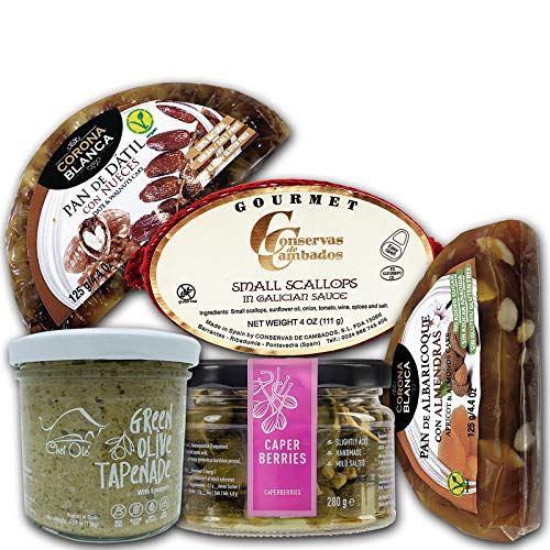 Chef Olé box Triana Tapas Time Series, Artisanal Gourmet Food Gift Basket 5 Healthy Appetizers from Spain. Natural, Gluten-Free. Foodies Cheese and Salad Pairing Snacks Set. No cooking Needed