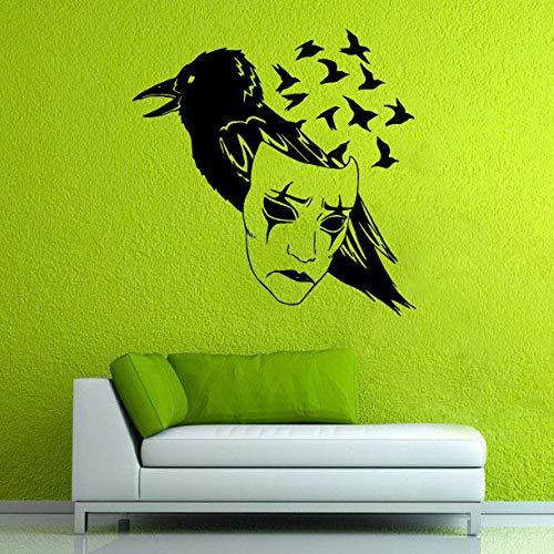woyaofal Riesige Vogel Silhouette Mit Speziell Gestalteten Gesicht Kunst Wandtattoos Kreativ Gestaltete Vinyl Wandaufkleber Für Zuhause Cool Decor Wm 60x60 cm