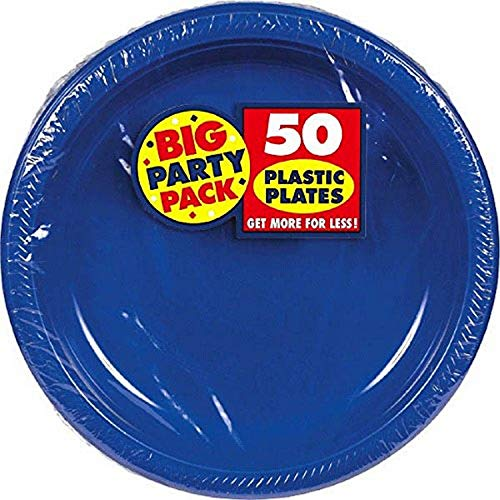 Amscan Bright Royal Big Party Pack Plastic, Blue Plates, 10 1/4'