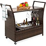 Best Choice Products Outdoor Rolling Wicker Bar Cart w/Removable Ice Bucket, Glass Countertop, Wine Glass Holders, Storage Compartments - Brown