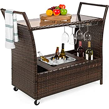 Best Choice Products Outdoor Rolling Wicker Bar Cart w/Removable Ice Bucket Glass Countertop Wine Glass Holders Storage Compartments - Brown