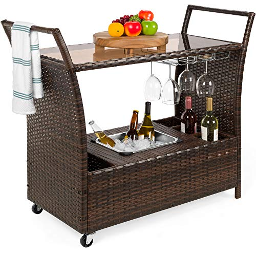 Best Choice Products Outdoor Rolling Wicker Bar Cart w/Removable Ice Bucket, Glass Countertop, Wine...