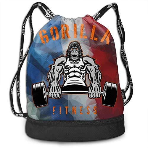 Gori-lla FitnessWaterproof Drawstring Backpack Bag Women&Men Sport Gym Sack Bag for Hiking Yoga Fitness Swimming Travel
