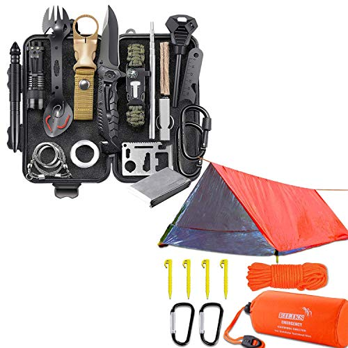 Survival Gear Kit and Emergency Survival Shelter Thermal Life Tent, SOS Earthquake Aid Equipment, Cool Gadgets Birthday Gifts for Men Dad Husband Boyfriend Outdoor Adventure Camping Hiking