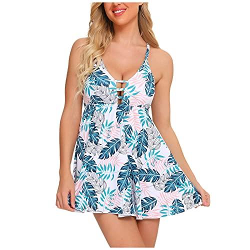 UoBfine Traje de baño para mujer Ruched, tallas grandes, dos piezas, sujetador push-up, moldeador de la figura con falda, traje de baño de una pieza azul XL