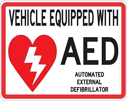 Tamengi 5 x 4 Inch Voertuig uitgerust met AED Sticker Vyl Medical Emergency Sign Decal voor Art Decoration