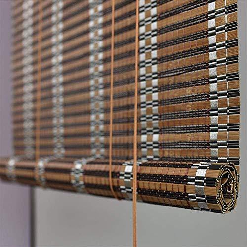 MWyanlan Persianas enrollables de persiana de Invernadero de bambú carbonizado al Aire Libre, pabellón al Aire Libre en el Interior Pabellón Pérgola Veranda Toldos de jardín-W 90*H 340cm