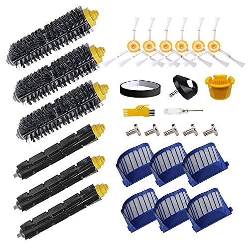 Kit de accesorios MIKONG para iRobot Roomba 605 692 671 620 676 606 631 Piezas de repuesto para robot aspirador 19 paquetes de cepillo de rodillo, filtro, cepillo lateral y rueda delantera