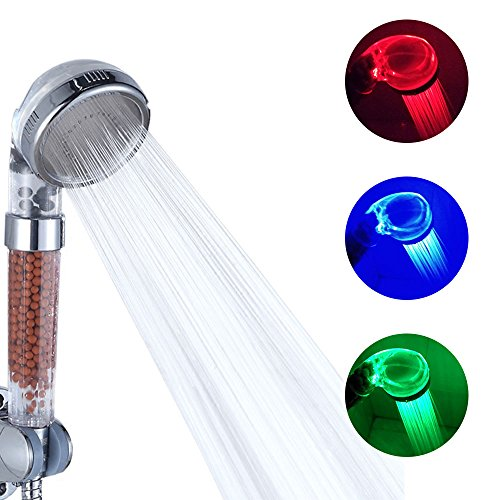 DELIPOP Pomme de douche led 3 couleurs tête de douche température douchette spa Chrome ABS pour accessoires de salle de bains