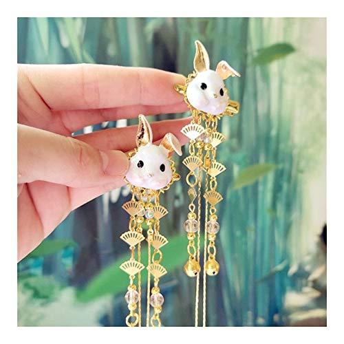 chenyou Pelo De Las Mujeres Chinas Tradicionales Clip De Metal Fox Conejo Clip Borla De Bell Accesorios For El Cabello Pelo De Las Muchachas Un Par Cintas para el Pelo (Color : Rabbit)