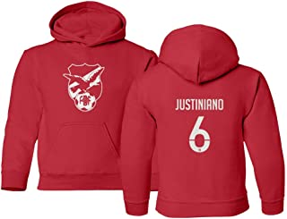 Tcamp Soccer 2019 Bolivia #6 Leonel JUSTINIANO Copa America Youth Hooded Sweatshirt