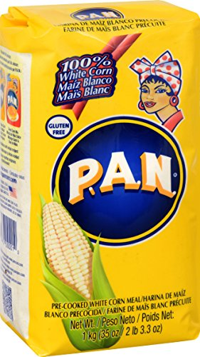 P.A.N. White Corn Meal – Pre-cooked Gluten Free and Kosher Flour for Arepas, 1 Kilogram (35 Ounces / 2 Pounds 3.3 Ounces) (Pack of 1)