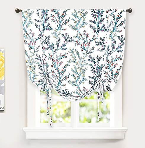 DriftAway Jasmine Tie Up Watercolor Branch Botanical Lined Thermal Insulated Room Darkening Energy Saving Window Adjustable Balloon Curtain Shade for Small Window 2 Layers 45 Inch by 63 Inch Multi