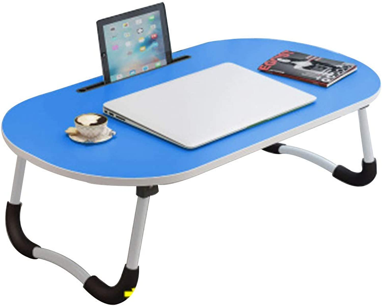 Notebook Stand Desk Wall Table Folding Laptop Desk Lazy Table with Groove Non-Slip Foot Cover University Dormitory Writing Desk, Wood (color   C)
