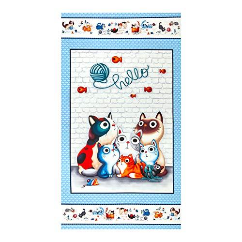 Michael Miller 0678407 Feline Friends Hello 24'' Panel Blue Fabric Stoff, Textil, blau, By The Yard