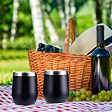 BBTO 2 Sets 12 oz Stainless Steel Stemless Wine Glass, Unbreakable Double Wall Insulate Cup Tumbler with Lids for Wine, Coffee, Including 2 Pieces Straws and 2 Pieces Brushes (Black)