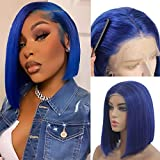 Asymmetrical Bob Wigs Human Hair Breathable Lace Frontal Wigs Glueless Cut Bob Wig with Bleached Knots Straight Hair 14' Dark Blue Color