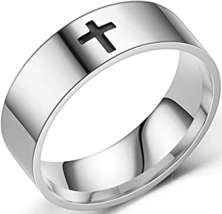 8mm Stainless Steel Classical Simple Plain Christian Cross Religious Wedding Band Ring