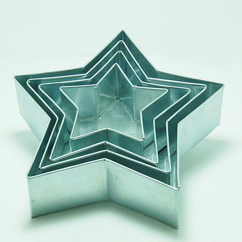 """Star Shape Cake Baking Pans By Euro Tins 6"""" 8"""" 10"""" 12"""" (3"""" Deep) 4 Pcs."""