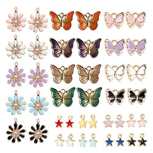 Anyasen 42 Stück Schmetterling Charm Anhänger Gänseblümchen Charm Anhänger Sterne Charm Anhänger Anhänger für Armband Ohrringe Schmetterlinge zum Basteln Schmuck Anhänger Selber Machen