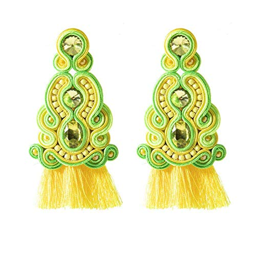Gymqian Vintage Quirky Earrings Handmade Production Leather Earrings Jewelry for Women Soutache Ethnic Style Big Drop Earring Party Gifts Blue(LAN) Decorations/Yellow(Huang)