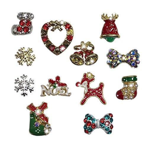 12pc/bag Christmas 3D Alloy Nail Charms Nail Art Decoration Bling Rhinestone