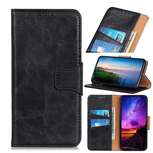 Zhaoruilong1163 Cartera de Cuero de PU de la Textura del Caballo Enfermo con Cierre carismático para Xiaomi Redmi 8, Folio Stand Case, para Xiaomi Redmi 8 Case (Color : Black)