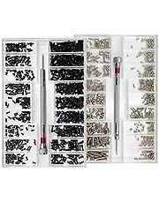 Nsiwem Kleine Schroeven 2 Dozen Kleine Micro Reparatie Schroef Kit Horloge Bril Schroeven Vervanging Kit Schroef Assortimenten 18 Maten met Schroevendraaier voor Horloges Bril Laptop Bevestigingsmiddelen (Zwart en Zilver)