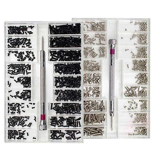 Nsiwem 1000 Piezas Tornillos para Ordenador Tornillo para Gafas Relojes Kit Tornillos para Reparación Reloj Kit de Surtido de Tornillos con Destornillador Negro y Plata 18 Tamaños