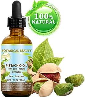 PISTACHIO OIL Italian Pistacia vera 100% Pure Natural Refined 1 Fl.oz.- 30 ml for FACE, SKIN, BODY, HAIR, NAILS, FOOT CARE. Vitamin E Antioxidant Serum, Skin Moisturizer by Botanical Beauty