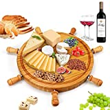 Bamboo Cheese Board, Natural Bamboo Cheese Tray, Round Size Cutlery Set Includes 6 Cheese Knives with Wooden Handles, Serving Tray for Meat, Fruits and Cheese. Charcuterie Board – Perfect Gift idea.