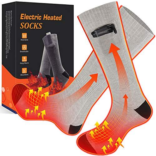 etship Beheizte Socken, Heizsocken Elektrisch, Warme Socken, Fußwärmer, Elektrische Wiederaufladbare Batterie Thermische Socken Akku, Heated Socks mit 3 Einstellbarer Temperatur für Damen Herren.